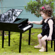 Little girl playing on toy piano — Stock Photo #62489241