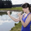 Young woman outdoors in boxing pose — Stock Photo #74786795