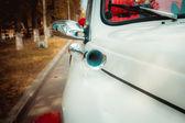 Retro car klaxon closeup view — Stock Photo