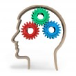 Thinking, intelligence, problems,  gears in head. — Stock Photo #63770185