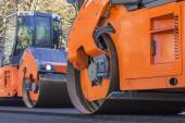 Road Construction, steamroller — Stock Photo