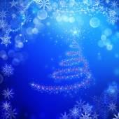青魔法のクリスマス背景 — ストック写真