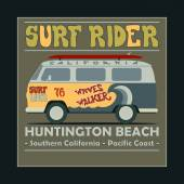 Surfing t-shirt graphic design. Vintage Retro Surf BUS. Huntingt — Vector de stock