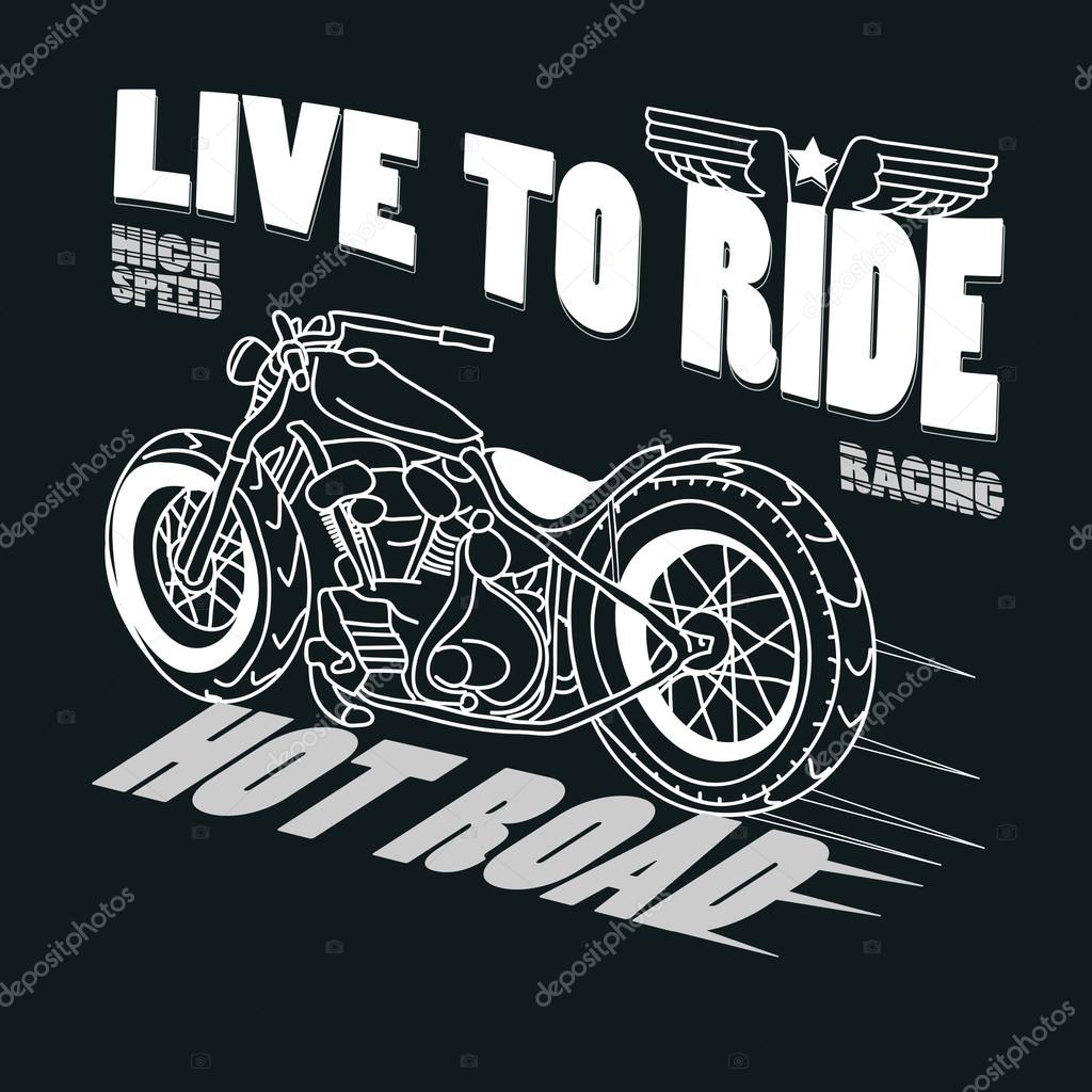 Motorcycle Racing Typography Graphics T Shirt Design