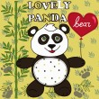 Cute Panda with heart. Little Panda Bear child's drawing by hand — Stock Vector #72194891