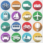Icons Vehicles with Long Shadow, Transport. Vector illustration — Stock Vector