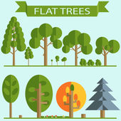 Set of Green Trees Flat Design — Vetor de Stock