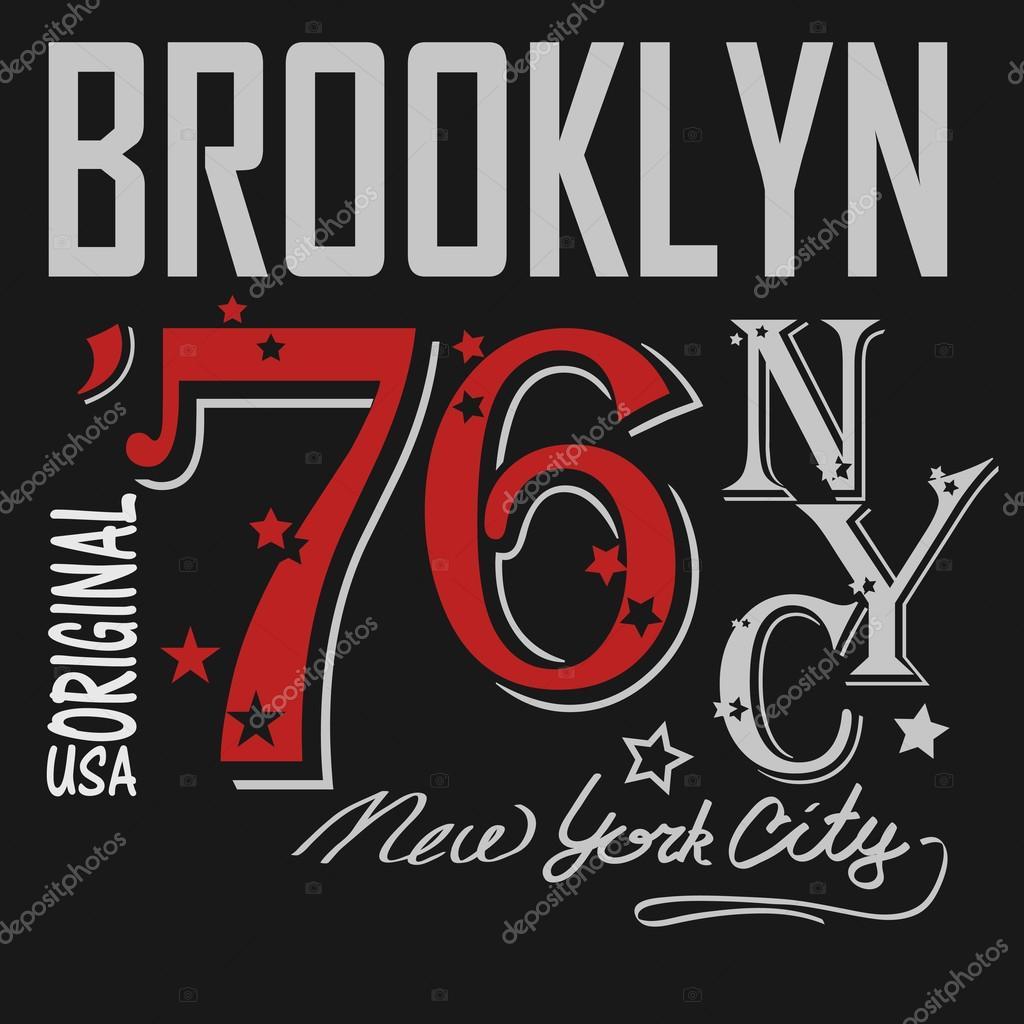 T shirt printing brooklyn new york usa vector for T shirt printing brooklyn