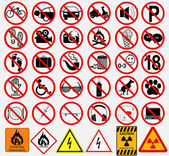 Set of  Signs for Different Prohibited Activities — Stock Vector