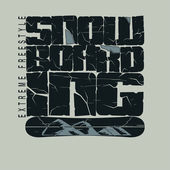 Snowboarding winter sport emblem, T-shirt - vector — Stock Vector
