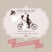 Pozvánka na svatbu, tandemové kolo — Stock vektor