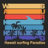 Surfing t-shirt design. Hawaii  Surf  label — Stock Photo