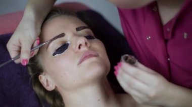 Eyebrows tinting treatment with natural henna dye by cosmetician. — Stock Video