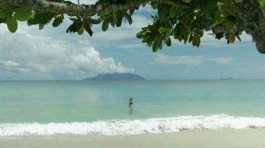 Young woman having fun in the ocean. — Stock Video
