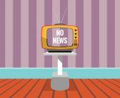 No hay noticias - vector dibujo de un televisor con pantalla de no-noticias. — Vector de stock