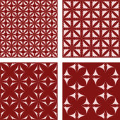 Red seamless pattern background set — Stock Vector