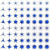 Asymmetric blue star shape set — Stock Vector