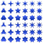 Blue star shape collection — Stock Vector