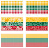 Mosaic Lithuania flag set — Stock Vector