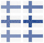 Mosaic Finland  flag set — Stock Vector