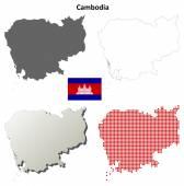 Cambodia blank detailed outline map set — Stockvektor