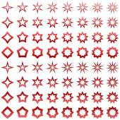 Red star shape collection — Stock Vector