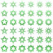 Green star shape set — Stock Vector