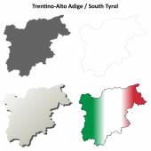Trentino Alto Adige (South Tyrol) outline map set — Stock Vector