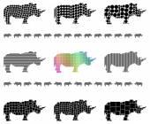 Rhinocerus silhouettes — Stock Vector