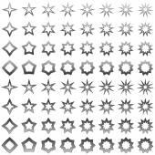 Grey star shape set — Stock Vector