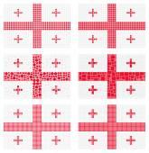 Mosaic Georgia flag set — Stock Vector