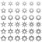Grey star shape collection — Stock Vector
