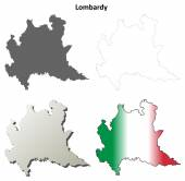 Lombardy outline map set — Stock Vector