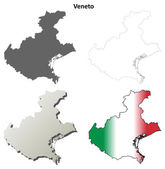 Veneto blank detailed outline map set — Stock Vector