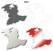 Bern blank detailed outline map set — Stock Vector