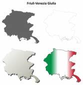 Friuli-Venezia Giulia outline map set — Stock Vector