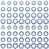Blue curved polygon shape collection — Stockvector