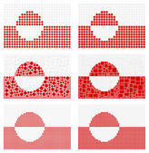 Mosaic Greenland  flag set — Stock Vector