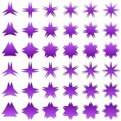 Purple star shape collection — Stock Vector