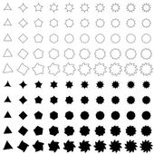 Black deformed polygon shape collection — Stock Vector