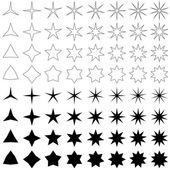 Black star shape collection — Stock Vector