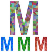 Mosaic font design - letter M — Stock Vector