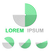 Green technology symbol icon design set from half circles — Stock Vector
