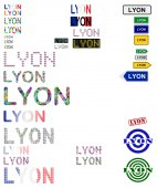 Lyon text design set — Stock Vector