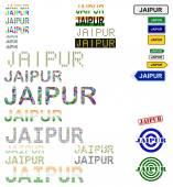 Jaipur text design set — Stock Vector