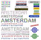 Amsterdam text design set — Stock Vector