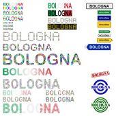 Bologna text design set — Stock Vector