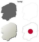 Tochigi blank outline map set — Stock Vector