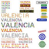 Valencia text design set — Stock Vector