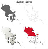 Southeast Sulawesi blank outline map set — Stock Vector